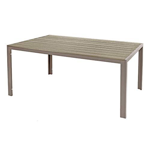 FineHome Großer Aluminium Gartentisch 180x90x74cm champagnerfarben Esstisch Gartenmöbel Tisch Polywood Holzimitat wetterfest