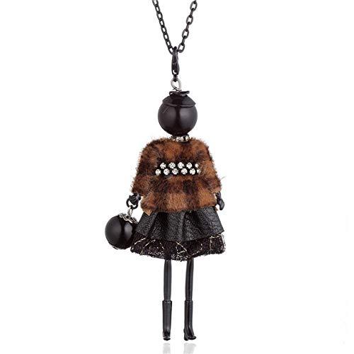 XCWXM - Collares largos para mujer, collar de mujer, con plumas, falda, de aleación negra, colgantes largos de suéter de cadena de joyería para fiesta