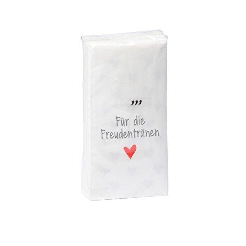 in due 10 x 10 Taschentücher 'Für die Freudentränen' zur Hochzeit, Taufe oder Kommunion