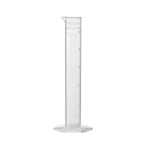 DealMux 50ml Labormessungen Durchsichtiger weißer Kunststoff-Messzylinder mit Sechskantbasis für chemische Messungen