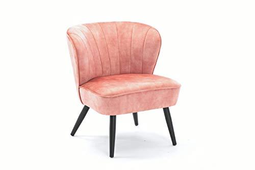 Duhome Silla tapizada sillón Vintage Design con Patas de Metallo sillón Lounge salón 8103B, Color:Rosa, Material:Terciopelo Vintage