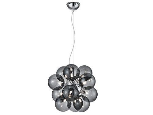 Mehrflammige Design LED Pendelleuchte in Chrom glänzend mit Kugel Lampenschirmen aus Rauchglas - inklusive G9 LED Leuchtmitteln