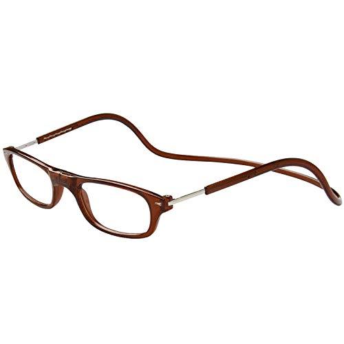 TBOC Lesebrille Lesehilfe für Herren und Damen – Dioptrien +1.00 Braun Fassung Brillen mit Stärke Faltbare Einstellbare Trend Frau Mann Senior Magnetverschluss Clip Alterssichtigkeit Presbyopie