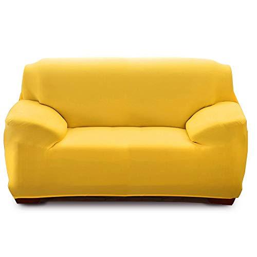 IVYSHION Funda Sofa Elástica 1/2/3/4 Plazas Funda para Sofá Universal Protectora de Sofá Color Sólido Funda de Sofá o Sillón Lavable Duradera(Amarillo 2,2 Plazas(145-185cm))
