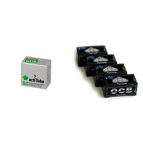 actiTube 2 x Aktivkohlefilter a 50er Schachtel = 2 x 50 = 100 Aktivkohle Slim Filter, Kohlenstoff, Silber, 5 x 4 x 3 cm, 2-Einheiten