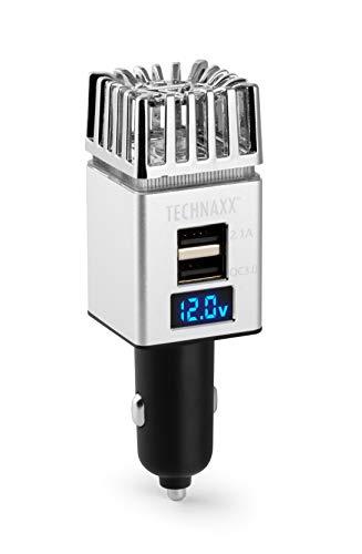 Technaxx Auto Luftreiniger Luftreiniger 12/24V 2xUSB, TX-130 in Silber - 4854 - Erfrischen und reinigen Sie die Luft in Ihrem Auto & entfernen Sie Zigarettenrauch, Smog, Dämpfe, Gerüche aus dem Auto
