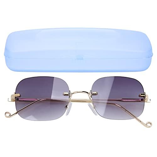 Yinhing Gafas Anti-UV, sin Montura Gafas de Sol Antiguas Anti-UV Gafas polarizadas a Prueba de Rayos Ultravioleta Lente Gris Degradado