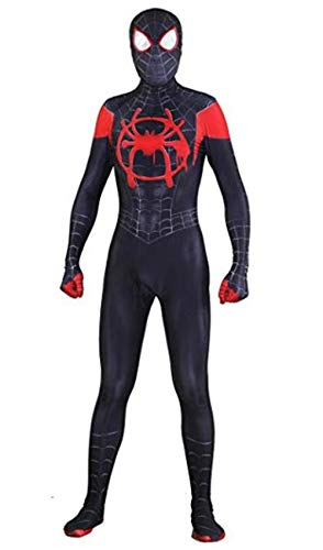 Cosplay Bodysuit Unisex Lycra Spandex Halloween New into The Spider Verse Miles Morales Cosplay Costumes Adult/Kids 3D Style Black, Adult-L((Height 165-170cm)