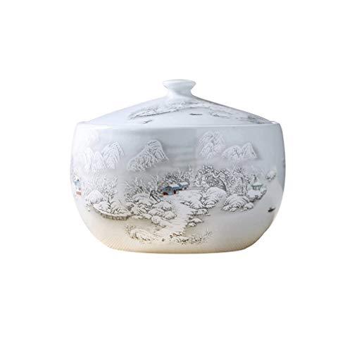 XYZMDJ Cerámica de Almacenamiento del arroz Cubo con Tapa Cocina Tanque de almacenaje de Grano contenedores crisol de cerámica de cerámica de arroz Harina Cilindro de contenedores (Size : 31cm)
