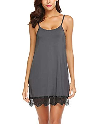 Avidlove Women's Sexy Sleep Chemise Lace Modal Slip Sleepwear Nightgown(Dark Gray,Large) from