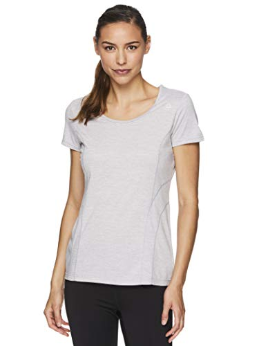 Reebok Women's Fitted Performance Poly Marled T-Shirt Silver Sconce Heather S
