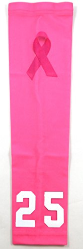 Sports Farm New! Custom Number Moisture Wicking Compression Arm Sleeve (Breast Cancer Ribbon, Youth Medium)
