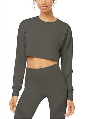 Bestisun Cropped Long Sleeve Tops for Women Crop Sweatshirt Long Sleeve Crop Top Deep Gray M (Apparel)