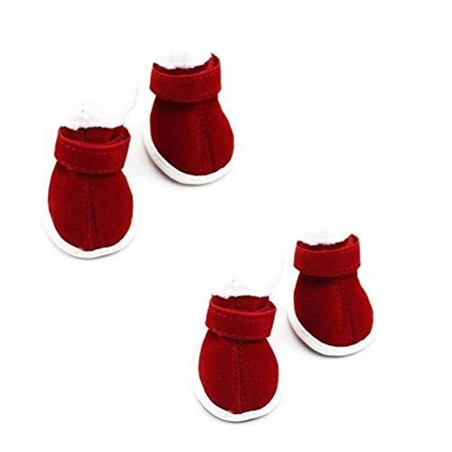 Mike Wodehous Weihnachten warme Schuhe Anti-Rutsch-Hund Chihuahua Welpen Boots-Schuhe for kleine Hund-Jahr-Geschenk for Haustier-Welpen 4 PC/Los for Welpen Booties for Bogs