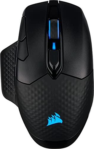 Corsair Dark Core RGB PRO kabellose Gaming-Maus (18K DPI Sensor, schnellen Reaktionszeiten, Acht Programmierbare Tasten, Dynamische iCUE RGB-Hintergrundbeleuchtung) schwarz