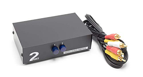 THE CIMPLE CO - 2 Way AV Switch - 2 Input 1 Output RCA Selector Switch for Composite Audio and Video - Switcher Box - Includes RCA Composite Cable (Black) Composite Video Line Amplifier