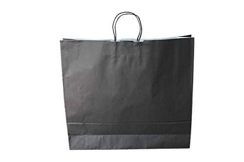 Papiertragetaschen mit Kordel extra groß 54 + 14 x 50 cm (50 Stück, SCHWARZ)