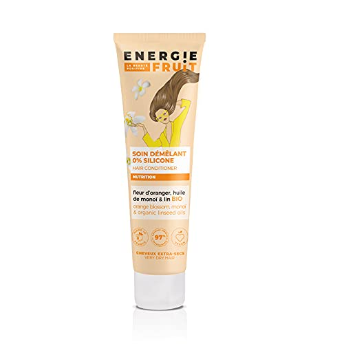 ENERGIE FRUIT | Soin Démélant avec ou sans rinçage | Monoï, Oranger & Huile de Lin BIO | Cheveux Extra Secs | Vegan | 150ml