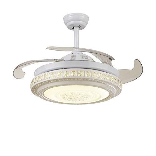 L-WSWS Luz del ventilador de techo LED Invisible Fan Light Control Remoto Ventilador de techo Luz con ventilador Simple Sala de estar Dormitorio Dormitorio Luz de comedor (Blade Color : 1)