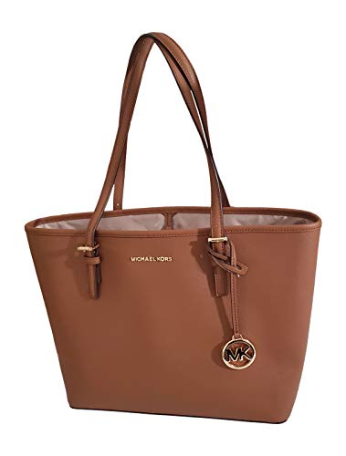 """Size Approximate Measurements: 12"""" Bottom 16"""" Top L x 10.5"""" H x 4.5""""D Made of Saffiano leather, Michael Kors Logo on Front with Hanging Logo Charm Open Top with Dog Clip, No Zipper Closure, Gold Hardware Dual shoulder straps with 9"""" Drop 1 Interior Z..."""