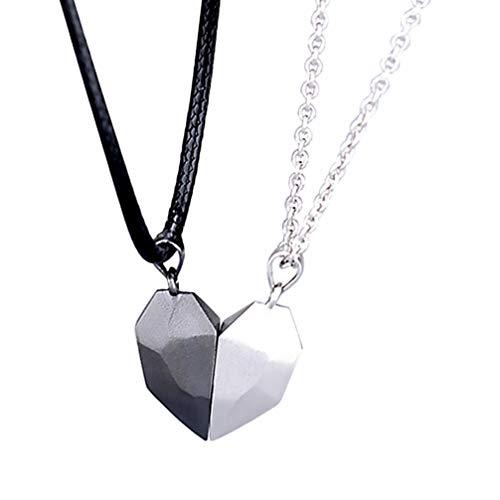 SOIMISS Duas Almas Um Coração Colares Colares para Os Amantes de Presente Do Amor Do Coração de Pedra Magnética