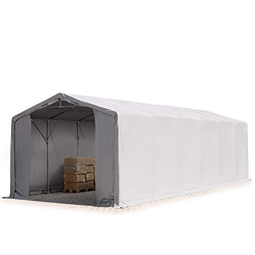 TOOLPORT Zelthalle 6x12m / 3m Seitenhöhe Lagerzelt Industriezelt Lagerhalle Plane 550 g/m² PVC wasserdicht grau