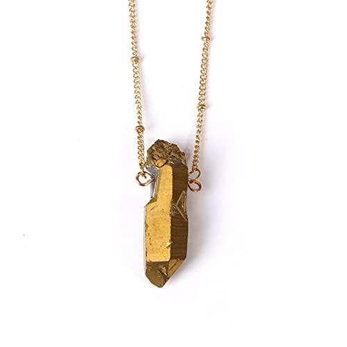 CHENLING Moda Cuarzo Collares Mujeres Gema Rough Druzy Piedra Colgante Cristal Natural Collar Energía Charms Joyería Mujer Regalo