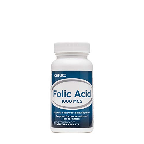 GNC Folic Acid 1000mcg, 100 Tablets, Supports Healthy Fetal Development