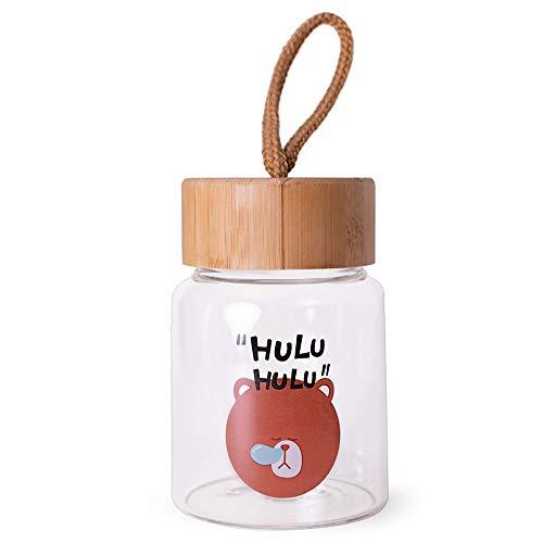 Knotched Trinkflasche aus Glas mit Bambusdeckel | 300ml | Süßes Motiv für Schule, Arbeit und Sport
