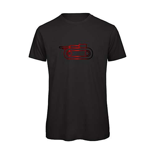 T-Shirt Uomo RISIKO | Gioco da Tavola | Maniche Corte |100% Cotone Organico | (2XL, Rosso su Nero)