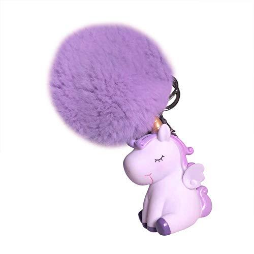 Morado Cosanter 1x Colorido Pelo Bola Unicornio Llavero Pompom Llavero Accesorios Colgantes Regalo de Cumplea/ños 17cm