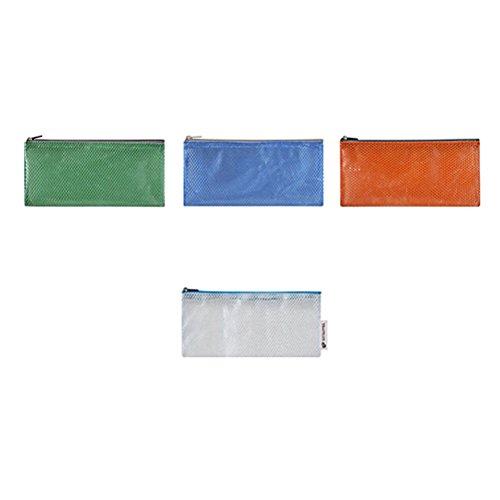 4pcs sac de rangement en maille zippée étanche trousse de maquillage petit sac de toilette pour voyage (orange, blanc, bleu, vert)