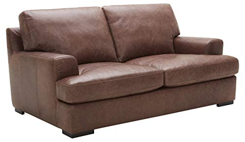 Amazon Brand – Stone & Beam Lauren Down-Filled Oversized Leather Loveseat with Hardwood Frame, 74'W, Dark Brown