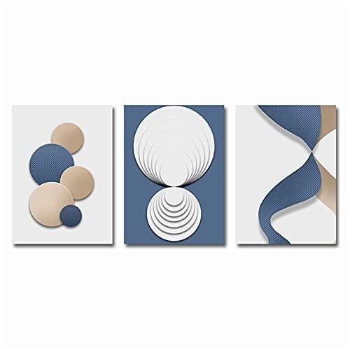 Cuadros de Lienzo 20x30cm 3 Piezas SIN Marco Azul Blanco Oro Póster Abstracto geométrico Arte de la Pared Pintura en Lienzo Impresión nórdica Cuadros de Pared para la decoración de la Sala de Estar