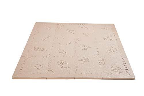 LuBabymats Mini - Alfombra puzzle de viaje para bebés, suelo extra acolchado de Foam (EVA). Medida: 110x110 cm. Color beige