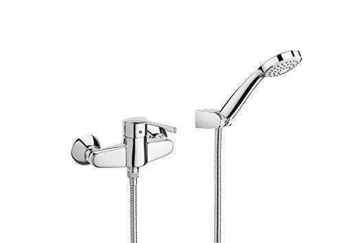 Roca Victoria - grifo monomando exterior para ducha con ducha de mano, flexible de 1,50 m. y soporte de ducha . Griferías hidrosanitarias Monomando. Ref A5A2023C02