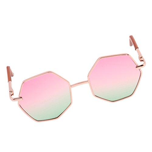 Baoblaze 1 Paar Sechseckig Puppen Brille Gläser Sonnenbrille mit Linsen für 20-25cm Blythe BJD Puppen Kleidung Zubehör - # D