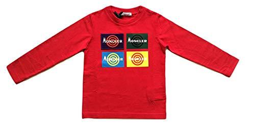 Moncler Junior Felpa Maglia t-Shirt Bambino E2 954 8028950 83092 Rosso (6 Anni)