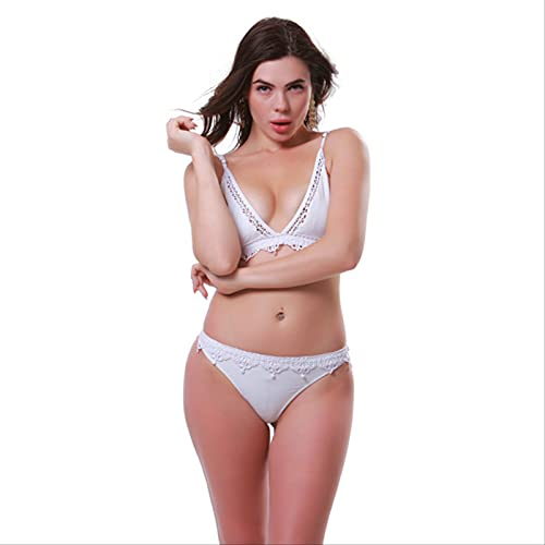 YYUKCDOG Señoras Blanco Dulce Tejido de Encaje de Corte bajo Halter Sexy Bikini de Cintura Baja Split Traje de baño de Dos Piezas M Blanco