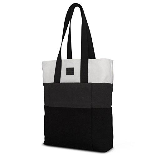 Johnny Urban Einkaufstasche Shopper Damen & Herren Grau Zoe Shopping Bag Einkaufsbeutel Tasche Faltbar - Wiederverwendbarer Stoffbeutel - Stylische Tragetasche aus Baumwolle mit Extrafach