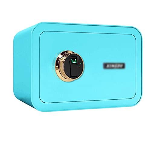 Caja fuerte de seguridad, pequeño armario de almacenamiento con sistema de alarma caja de efectivo, azul -35 x 25 x 28 cm