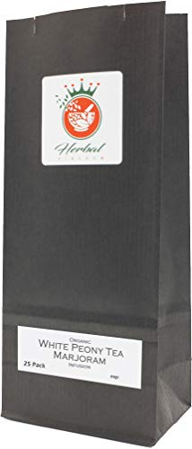 Marjoram Organic Herbal Blend Infusion (White Peony Tea - 25 Tea Bags - Unbleached)