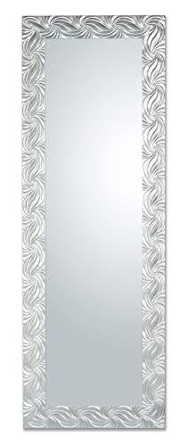 MO.WA Specchio da Parete o da appoggio Cornice Rettangolare Legno Misura Esterna 50X145 cm da Appendere in Orizzontale/Verticale. Finitura Argento. Made in Italy.