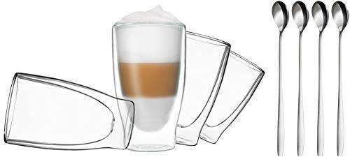 DUOS 4X 400ml doppelwandige Gläser + 4 Löffel - Set Thermogläser mit Schwebe-Effekt, auch für Latte Macchiato, Eistee, Säfte, Longdrinks, Cocktails geeignet, by Feelino