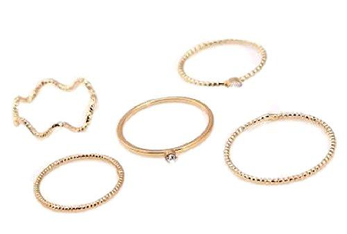 【ノーブランド品】 おしゃれ シンプルな ダイヤ風 装飾付き セットリング ミディリング ファランジリング 5点セット (ゴールド)
