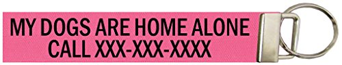 Custom 5 Inch Emergency Keychain Name Tag for Your Pet, Over 50 Camo/Solid Fabrics. Same Day Ship. Made in The U.S.A. Pink, My Dogs are Home Alone.