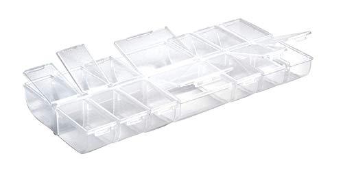 Rayher 3902300 Multi-Sortierbox, 14 Fächer mit Klappdeckeln, 24 x 11 x 2,8cm, praktische Aufbewahrung von verschiedenen Kleinteilen