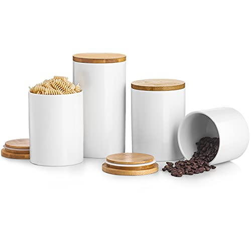 Kitchen Canister Sets For Kitchen Counter, BEYONDA White Ceramic Kitchen...