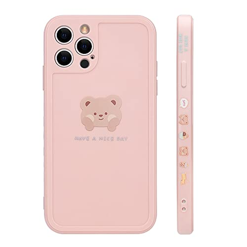 Ownest Compatible with iPhone 13 Pro Max Case Cute Painted Design Brown Bear with Cheeks for Women Girls Fashion Slim Soft Flexible TPU Rubber for iPhone 13 Pro Max-Pink