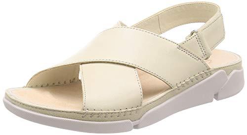 Clarks Tri Alexia, Sandalias de Talón Abierto Mujer, Beige (White Leather White Leather), 40 EU